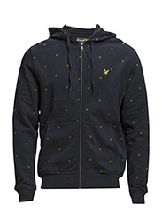LS Archive Micro Print Zip Through Hoodie - New Navy