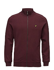 Funnel Neck Zip Through Sweatshirt - CLARET JUG