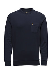 Woven Pocket Crew Neck Sweatshirt - NAVY