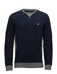Contrast Rib Crew Neck Sweatshirt - NAVY
