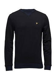 Contrast Rib Crew Neck Sweatshirt - TRUE BLACK