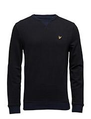 Contrast Rib Crew Neck Sweatshirt - TRUE BLACK