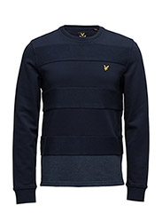 Reverse Stripe Crew Neck Sweatshirt - NAVY