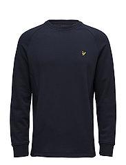 Crew Neck Seam Pocket Sweatshirt - NAVY