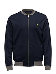 Contrast Rib Bomber Sweatshirt - NAVY