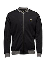 Contrast Rib Bomber Sweatshirt - TRUE BLACK