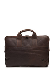 Leather Laptop Bag - DARK BROWN