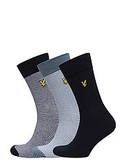 Fine Stripe / Plain Socks - 3 Pack - ASSORTED