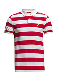 SS Block Stripe Polo Shirt - Royal Red