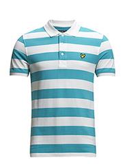 SS Block Stripe Polo Shirt - Turquoise