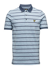 Multi-Coloured Birdseye Stripe Polo Shirt - BLUE MARL