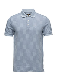 Stitch Interest Block Pattern Polo Shirt - GLAZE BLUE