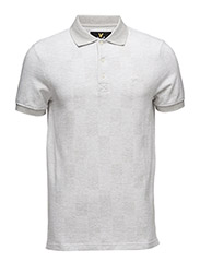 Stitch Interest Block Pattern Polo Shirt - LIGHT GREY MARL