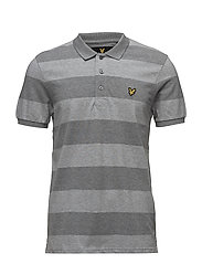 Wide Stripe Polo Shirt - MID GREY MARL