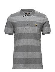 Wide Stripe Polo Shirt - MID GREY MARL