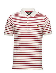 Breton Stripe Polo Shirt - RACING RED