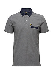 Woven Collar Polo Shirt - MID GREY MARL