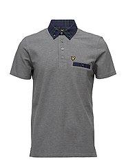 Woven Collar Polo Shirt - MID GREY MARL