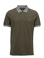 Contrast Rib Polo Shirt - DARK SAGE