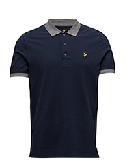 Contrast Rib Polo Shirt - NAVY