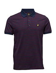 Mouline Stripe Polo Shirt - NAVY