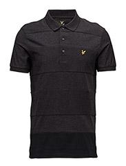 Reverse Stripe Polo Shirt - CHARCOAL MARL
