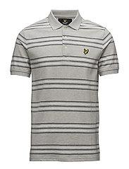 Stripe Polo Shirt - LIGHT GREY MARL
