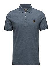 3 Col Mouline Polo Shirt - BLUE STEEL
