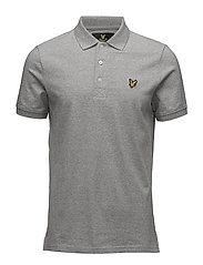 3 Col Mouline Polo Shirt - LIGHT GREY MARL