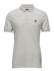 Texture Yoke Detail Polo Shirt - OFF WHITE MARL