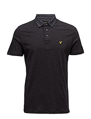 Woven Collar Jersey Polo Shirt - CHARCOAL MARL