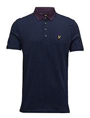 Woven Collar Jersey Polo Shirt - NAVY