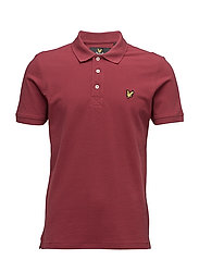Plain Pick Stitch Polo Shirt - POMEGRANATE