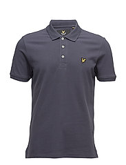 Plain Pick Stitch Polo Shirt - WASHED GREY