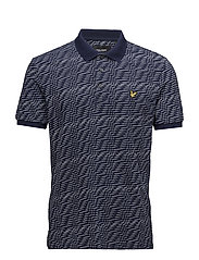 Distorted Pattern Polo Shirt - NAVY