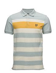Textured Stripe Polo Shirt - POWDER BLUE