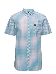Micro Check Shirt - CARIBBEAN SEA