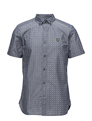 Square Dot Print Shirt - NAVY