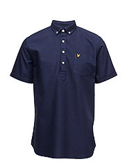 Garment Dye Oxford Over the Head Shirt - NAVY