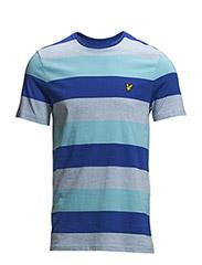 SS Crew Neck Rugby Stripe Jersey Tshirt - BLUE MARL