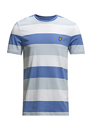 SS Crew Neck Rugby Stripe Jersey Tshirt - Cornflower blue