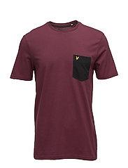 Contrast Pocket T-Shirt - CLARET JUG