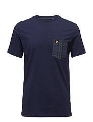 Woven Check Pocket T-Shirt - NAVY