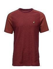 Reverse Birdseye Saddle Shoulder T-Shirt - CLARET JUG