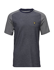 Reverse Birdseye Saddle Shoulder T-Shirt - NAVY