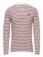 LS Crew Neck Bretton Stripe Tshirt - RACING RED