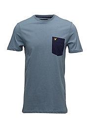 Contrast Pocket T Shirt - MIST BLUE