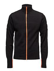 100% Wool Klemens Zip Kontrast - BLACK/ORANGE