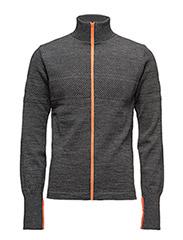 100% Wool Klemens Zip Kontrast - Charcoal melange/Orange