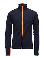 100% Wool Klemens Zip Kontrast - Navy/Orange